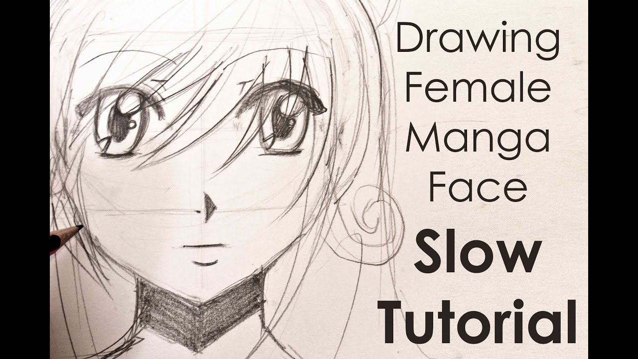 Drawing easy manga girl face slow tutorial