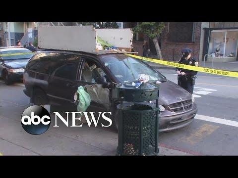 A van in San Francisco drove onto a sidewalk