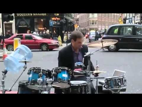 Extremely Talented Street Musician Performing Live