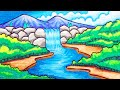 - Cara Menggambar Pemandangan Air Terjun yang Mudah | Gambar Pemandangan yang Simpel