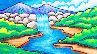 How to Draw Easy Waterfall Scenery for Kids Menggambar Pemandangan Air Terjun yang Mudah