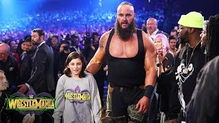Young Wwe Fan Nicholas Teams With Braun Strowman Against The Bar Wrestlemania 34 Wwe Network