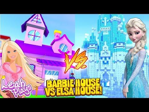 Minecraft LEAH PLAYS || FROZEN ELSA HOUSE VS BARBIE DREAM HOUSE!!!
