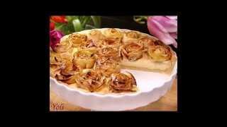 Как украсить пирог.Розы из яблок.How to decorate pirog.Rozy of apples.