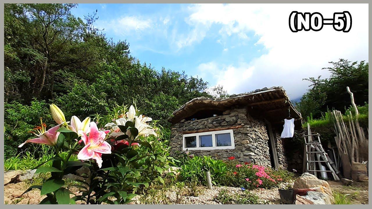 돌집,&호빗하우스 짓기💒 숲속 미니 오두막 (no-5) 지붕완성 식물심기까지 끝~! 태풍이 와도 피할곳이 생겼다