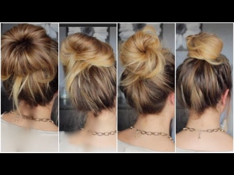 Messy bun cheveux mi long