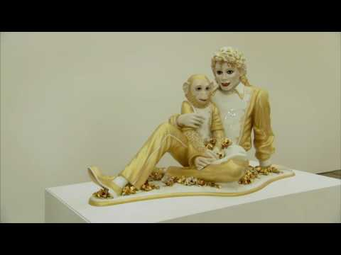 "Jeff Koons Talks With Damien Hirst at HIs Show ""Now"" at Newport Street Gallery, London"