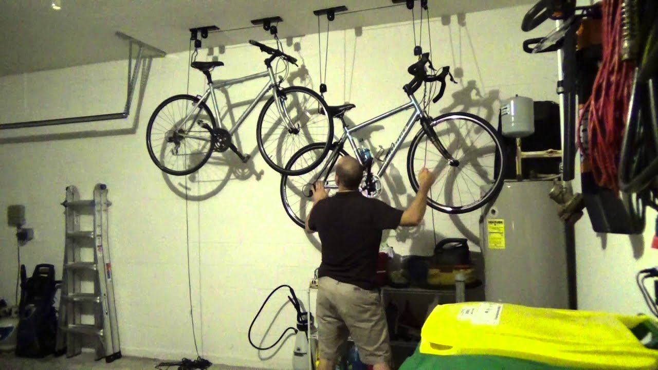 Overhead Rad Bicycle Storage Rope Pulley System Youtube