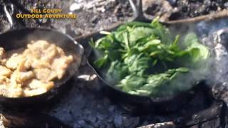 Campfire Cooking -  Creamy Cheesy Spinach & Panfried Fish