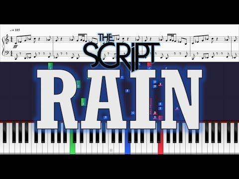 The Script - Rain (Instrumental) - Piano Tutorial w/ Sheets