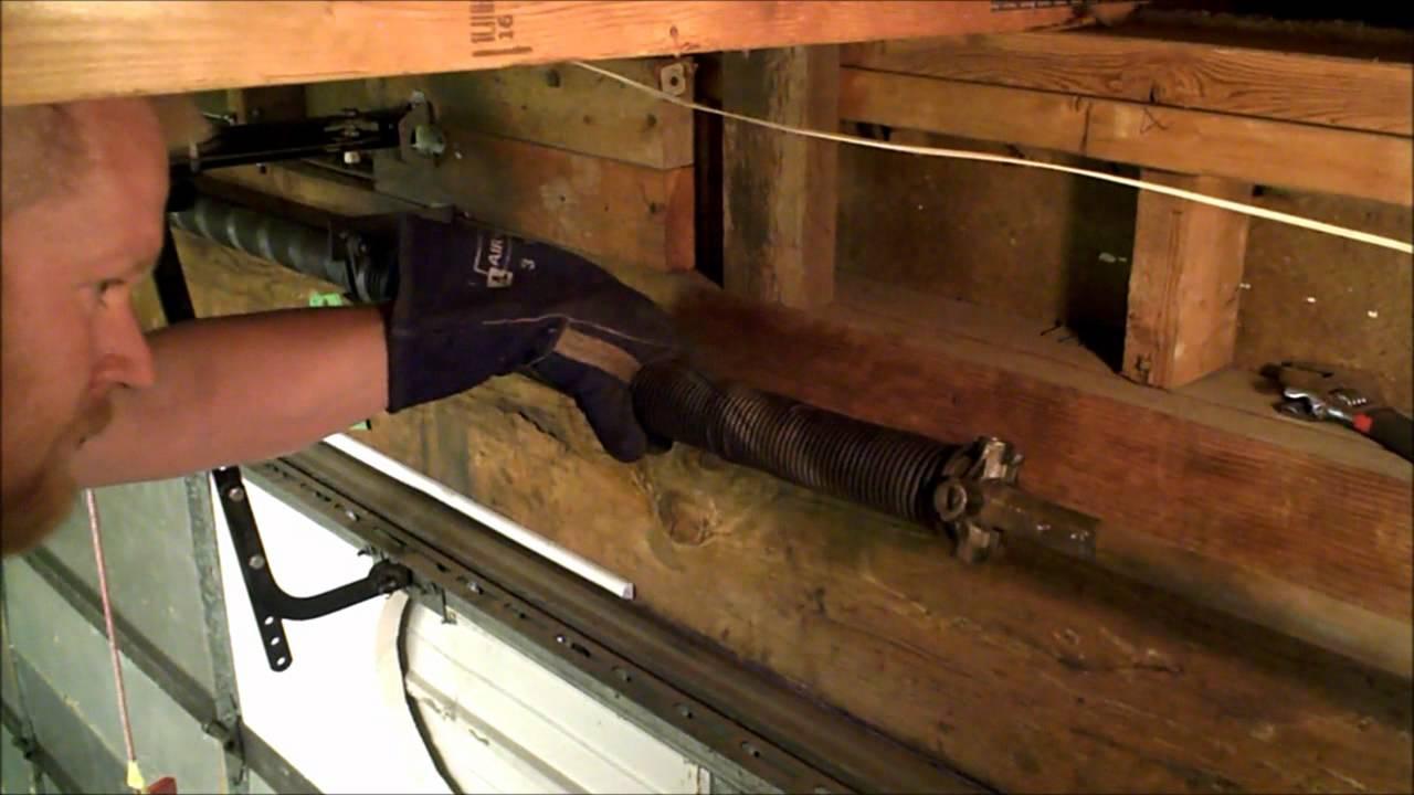 Garage Door Spring Temporary Fix - YouTube