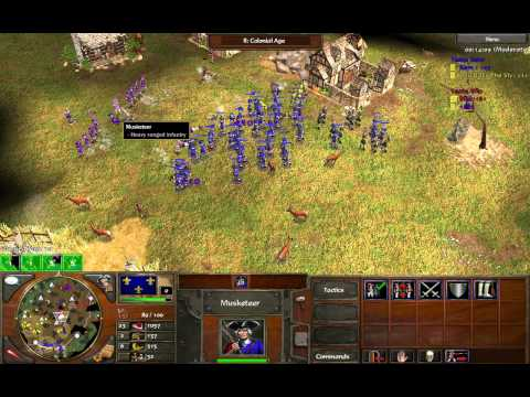 Age of Empires 3 - 2v2 as French: Musketeer Counter-Offensive