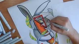 Как я рисовал тату эскиз, процесс, как рисовать  маркерами, Finecolour Markers как Copik(, 2015-03-27T19:43:33.000Z)