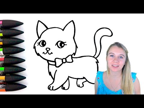 Cat Drawing and Coloring For Kids - Coloring Pages For Children - How to Draw Cat