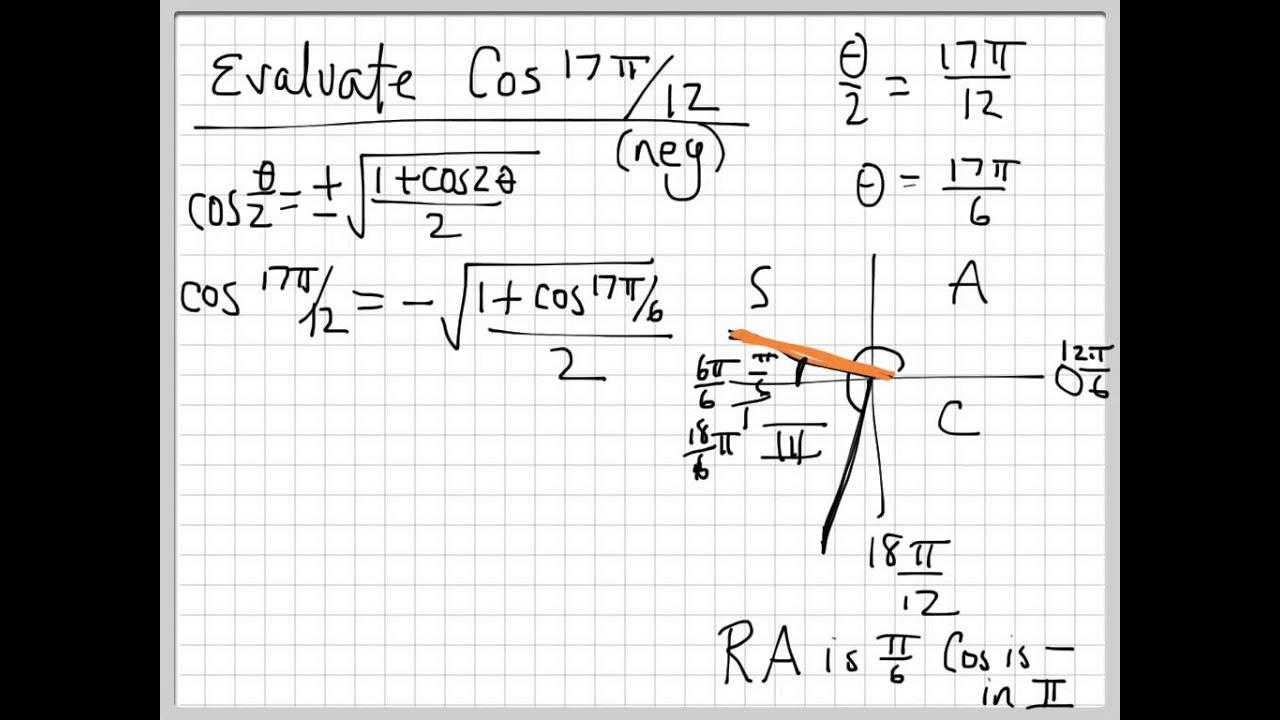 Precalculus - Trig 6 - Half Angle Formulas