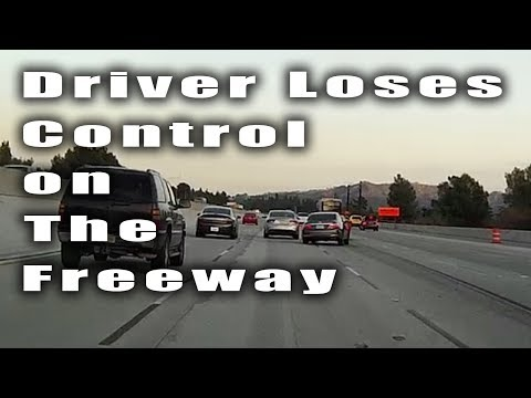 Driver Loses Control on the Freeway