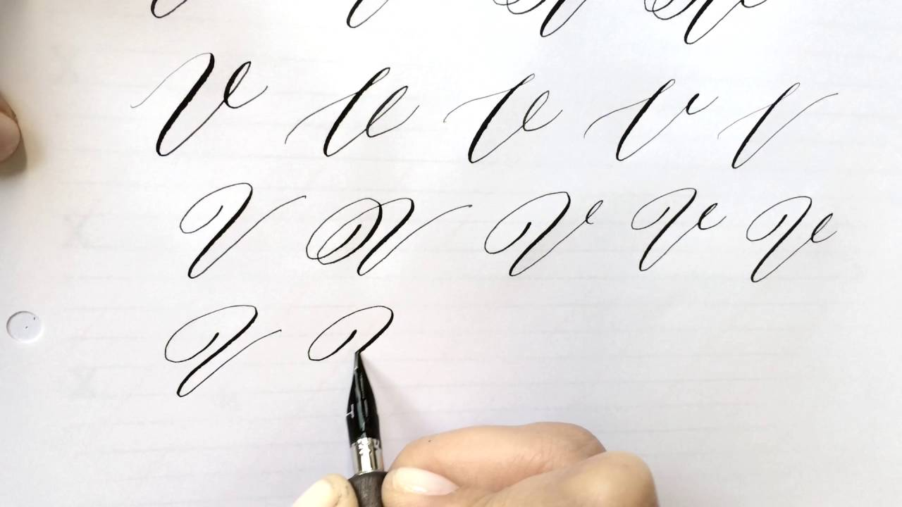 Modern calligraphy letter v youtube Calligraphy youtube