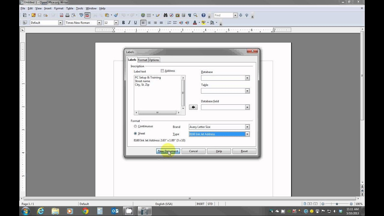 Creating Labels Using Openoffice Youtube