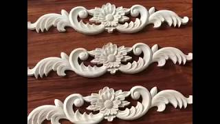 flower carving wood applique and onlay