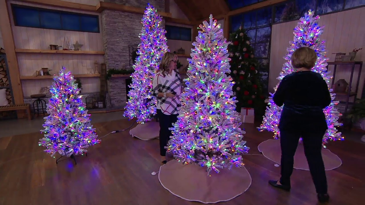 Santa S Best Multi Function Flocked Led Microlight Tree On Qvc