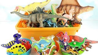 Learn Names of Dinosaurs With Toys! 3 Dinosaur Wooden Puzzle For Kids. T Rex, Triceratops