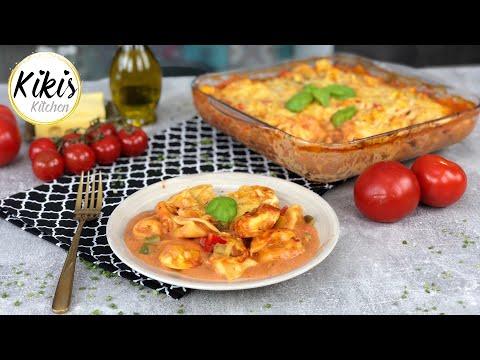 Leckerer Tortelliniauflauf vegetarisch | fettarme Tomatensauce | Mittagessen schnell und einfach