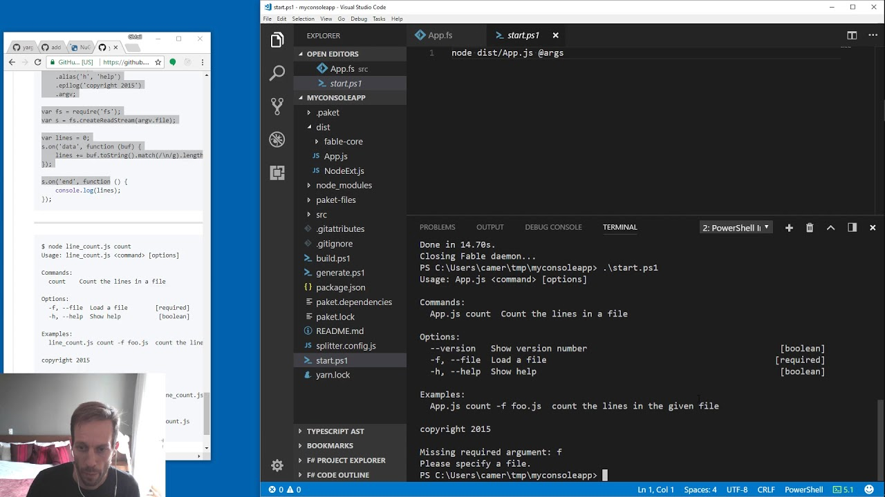 Yargs Node js console apps in F# | Taggart Software