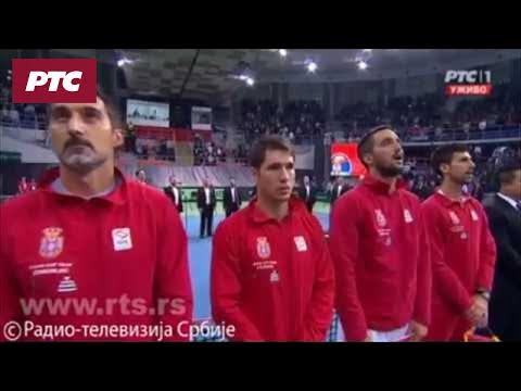 Dejvis kup, himne Rusije i Srbije
