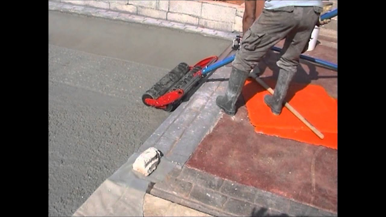 Terrasse Dalle Beton Beton Imprime - Utilisation D'une Lissarde - How To Use A