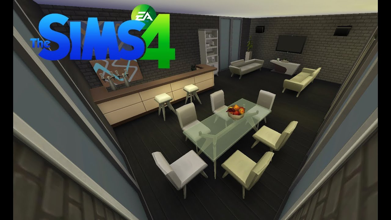Les sims 4 construction d 39 un salon salle a manger youtube for Salle a manger hanna