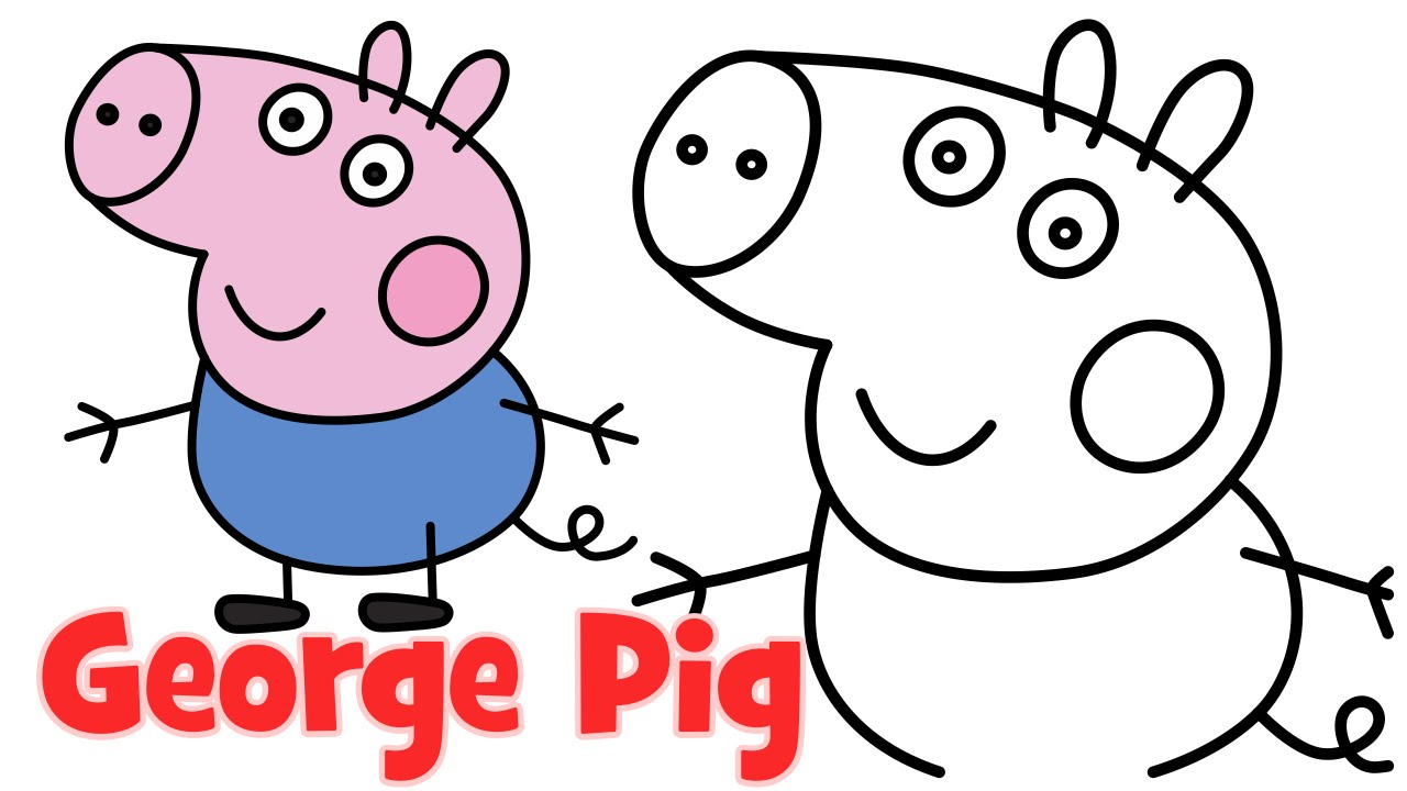 How to draw Peppa Pig family George step by step easy drawing for
