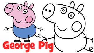 How to draw Peppa Pig family George step by step easy drawing for kids