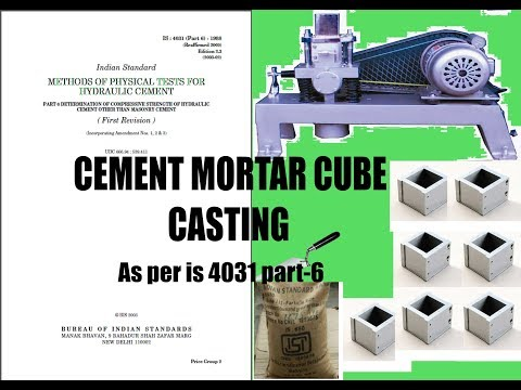 Cement Mortar Cube Casting Or Compressive Strength Of Cement IS4031, Quality Control Test For Cement