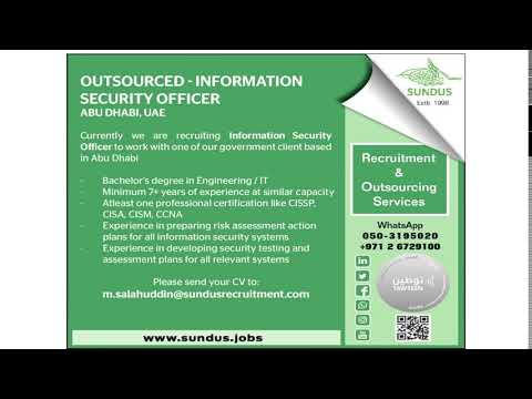 Sundus is looking for Information Security Officer   Outsourced for Government