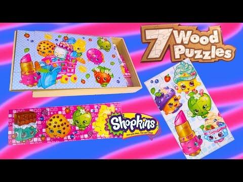 New Shopkins Season 1 7 Wood Puzzles Box Set Surprise Littlest Pet Shop Blind Bag Unboxing Toy Video