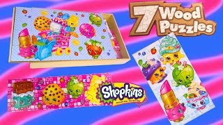 New Shopkins Season 1 7 Wood Puzzles Box Set Surprise Littlest Pet Shop Blind Bag Unboxing Toy Video