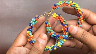 DIY Hoop Earring | How to Make Seed beads Hoop Earring at Home | 5 minutes Jewelry ideas