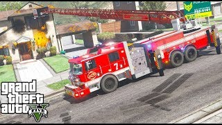 Video GTA 5 Firefighter Mod 72 - New Pierce Arrow XT Platform Ladder Fire Truck Responding To Fires download MP3, 3GP, MP4, WEBM, AVI, FLV November 2018