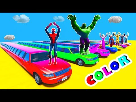 LEARN COLOR LONG CARS Transportation TRUCK for Kids w Superheroes Fun Animation for Babies