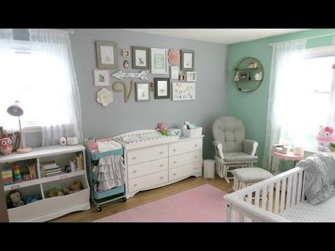 Baby Girl Nursery Tour! 🌸 Animal Woodland Theme | Pink Mint Gray & White