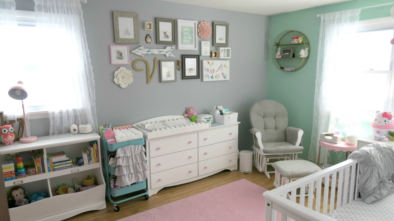 Baby Girl Nursery Tour Animal Woodland Theme Pink Mint Gray