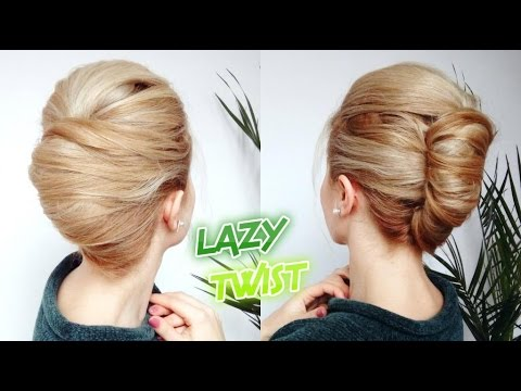 EASY LAZY HAIRSTYLE QUICK FRENCH TWIST BUN UPDO  Awesome