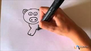 Como desenhar um porco animado