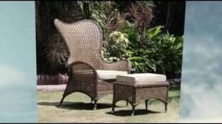 Manila Wing Chair And Footstool With Cushion