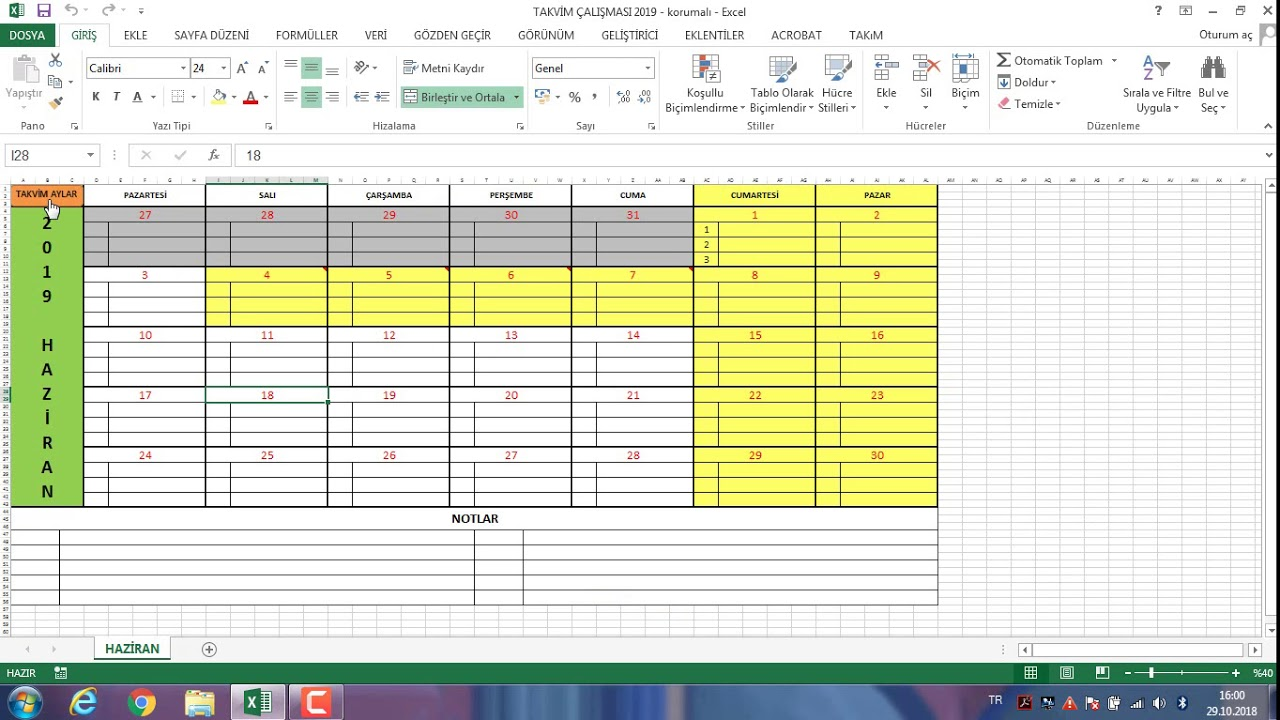 Planlariniz Için Excel 2019 Takvim ücretsiz Youtube
