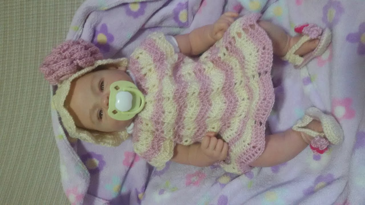 Vestido bebe a crochet de 0 a 3 meses youtube - Traje de duende para nino ...