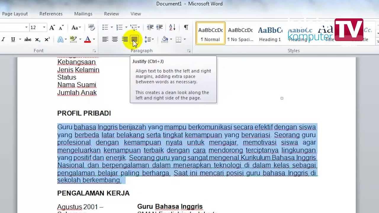 Membuat Cv Dengan Microsoft Word Youtube