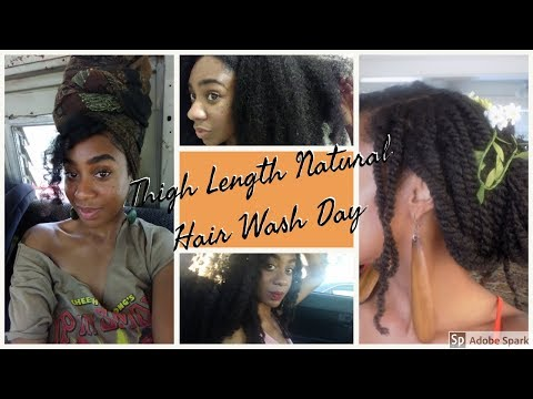 Thigh Length Natural Hair Wash Day