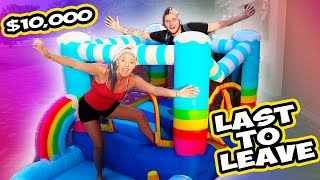 Last To Leave RAINBOW Bounce House Wins $10,000 Challenge!!