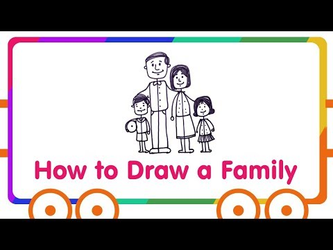 Family Drawing for Kids - How to Draw Happy Family